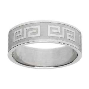 Andrews Greek Design Stainless Steel Engravable Mens Ring