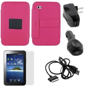 Pink High Quality Premium Leather Case Folio with Built in Stand + LCD