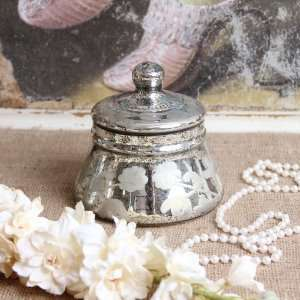 Antique Style Mercury Glass Jar with Lid Home Decor