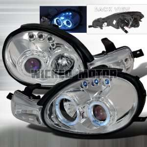 Dodge Neon 00 02 Dodge Neon Projector Headlights   Chrome Blue Lens