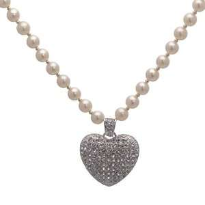 Quality Cream Pearl Silver Crystal Heart Necklace Jewelry