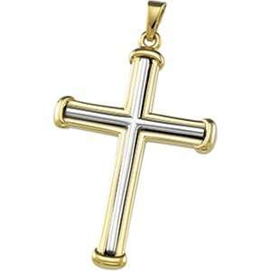 34.75 X 25.00 Mm 14K Yellow/White Gold Two Tone Cross Pendant Jewelry