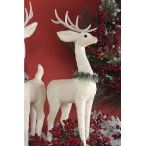 Large Christmas Reindeer with Wreath, 24 Inch Tall Sisal
