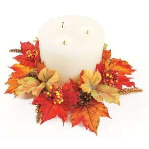 6 Fall Artificial Red & Gold Maple Leaf, Berry & Pine Cone