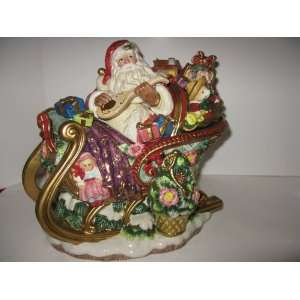 Fitz & Floyd Christmas Wreath Green Large Santas Sleigh