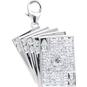 10ct HIJ Diamond Royal Flush Spring Ring Charm Arts, Crafts & Sewing