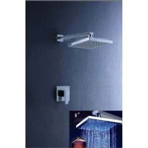 LED Rainfall Chrome Wall mount Shower Faucet
