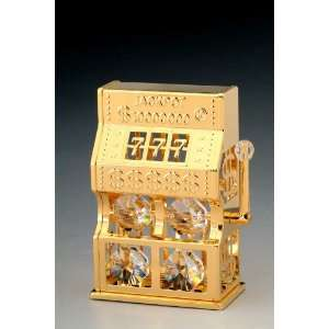 Slot Machine Swarovski Crystal 24k Gold Ornament NIB