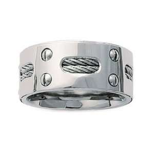 Mens Stainless Steel Cable Modern Band Ring Jewelry
