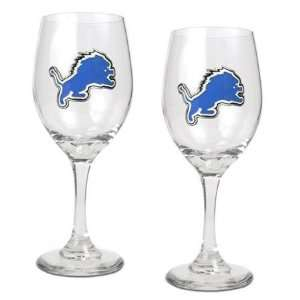 NIB Detroit Lions NFL 2pc Team Wine Glass Cup Set