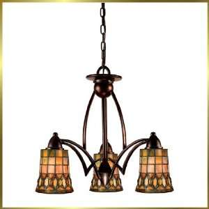 Tiffany Chandelier, QZTF390EP, 3 lights, Antique Bronze, 22 wide X 20