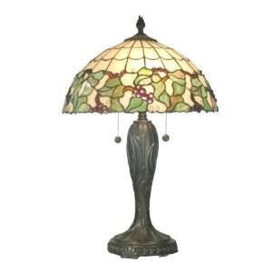 TT70739 Tiffany Grape Table Lamp, Fieldstone and Art Glass Shade