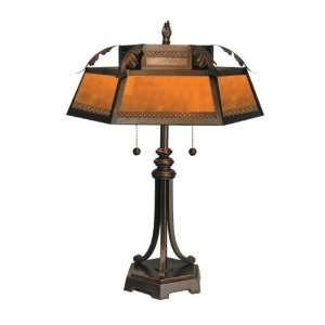 Tiffany TT90399 Mica Table Lamp, Antique Golden Sand and Mica Shade