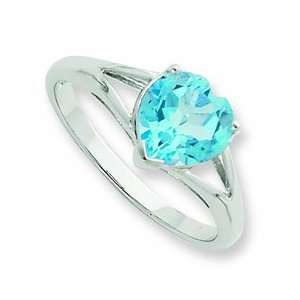 Silver Rhodium Light Swiss Blue Topaz Heart Ring, Size 7 Jewelry
