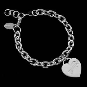 NFL Buffalo Bills Ladies Silver Heart Charm Bracelet