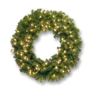 Norwood Fir Wreath with Battery Concave White Lights   2