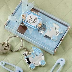 Baby Keepsake Blue baby carriage design key chains Baby