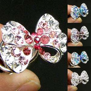 Item  1 pc rhinestone crystal bow tie hair twist pin fork