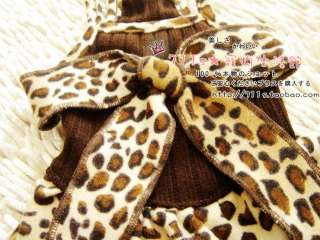 Pet Dog Leopard Dress Cloth Apparel S/M/L/XL/XXL for small dogs ONLY