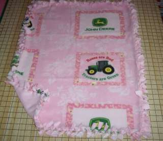 John Deere Pink Roses Fleece Baby Pet Dog Blanket Lap